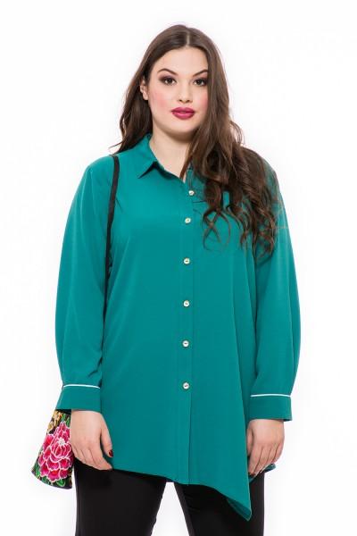 Végig gombos, lágy esésű divatos, ferde aljú, nagy méretű blúz, hosszú ujjú, galléros, kék, zöld ing.
