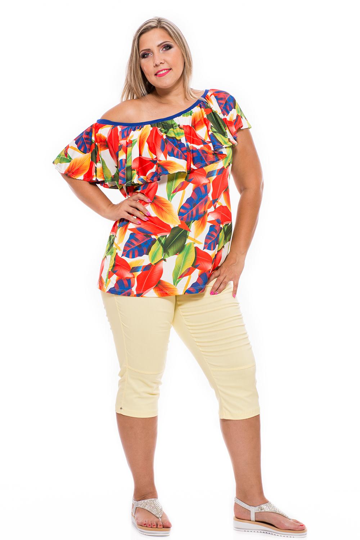 Vállra lehúzós, fodros nyári felsô, divatos felső, dundi divat, ruha webshop.