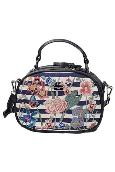 Adelinda csíkos-virágos táska