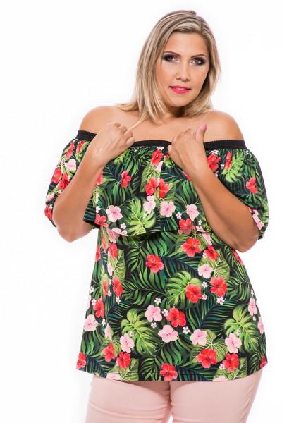 Tričko s odhalenými ramenami, letná tunika s fodrou, móda pre bacuľky, webshop s oblečením