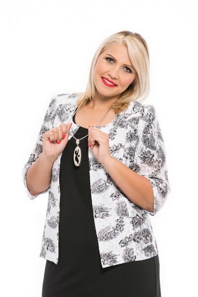 bielo-čierne sako pre moletky bez zapínania