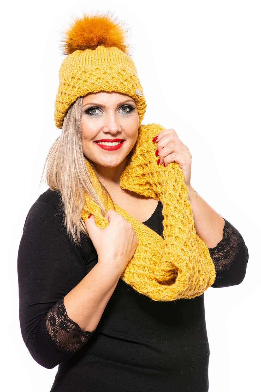 Téli sapka sál szett női - krém és sárga színben