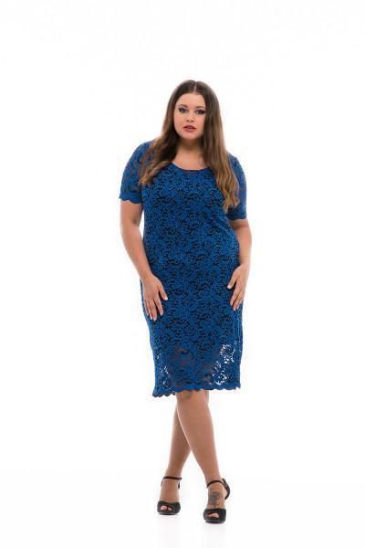 teltkarcsú nők divatja - kék ruha