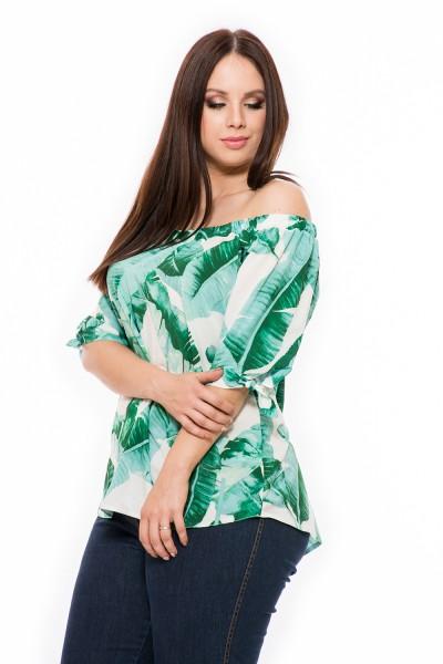 Tričko s poodhalenými ramenami, letná blúzka s fodričkou, moderná blúzka, móda pre bacuľky, webshop s oblečením