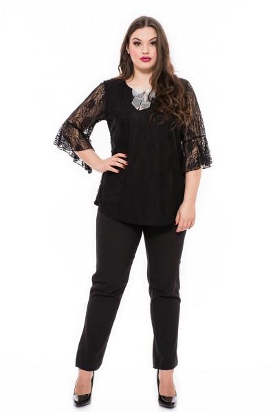 Elegáns fekete csipke felső, moletti alkalmi tunika, csinos csipke felső online.