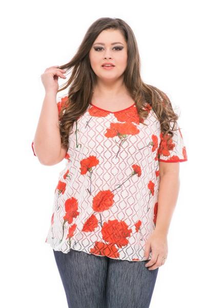 bluza cu moriv floral marimi mari