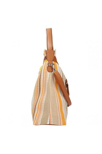 Barna bézs fehér csíkos táska