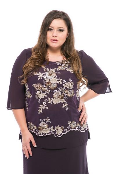 bluza eleganta cu broderie marime mare