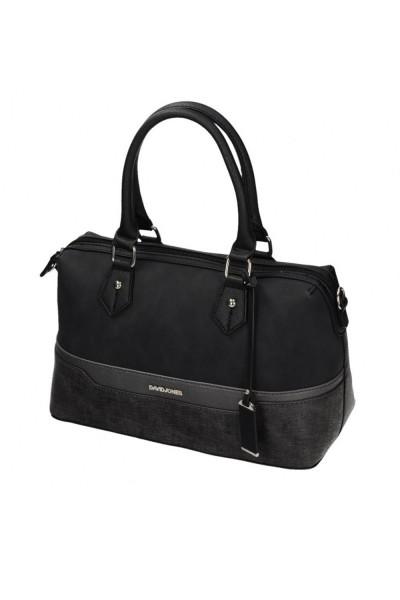 több rekeszes női táska fekete bőrből