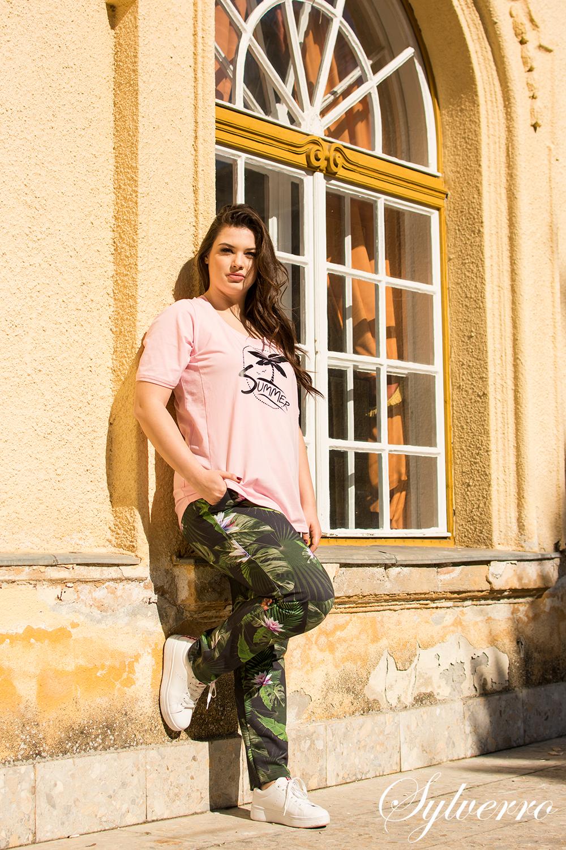 Pamut fimnyomott divatos felső, nyári moletti póló, rövid ujjú póló